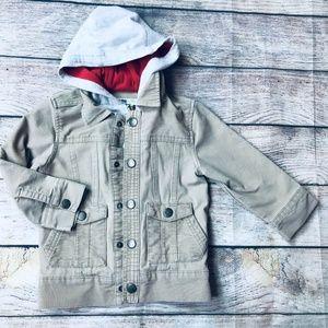2T Khaki Corduroy zip hooded jacket